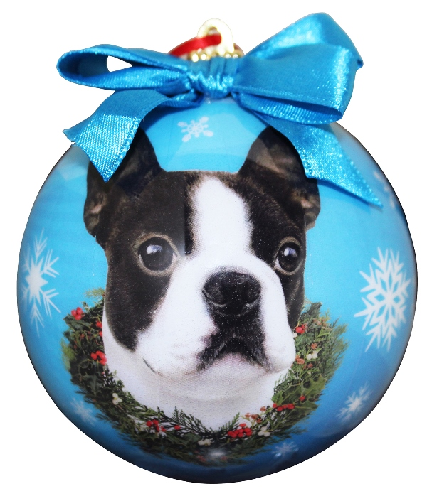 Blue Boston Terrier Ball Ornament