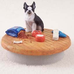 Boston Terrier  A Day at Home Candle Topper