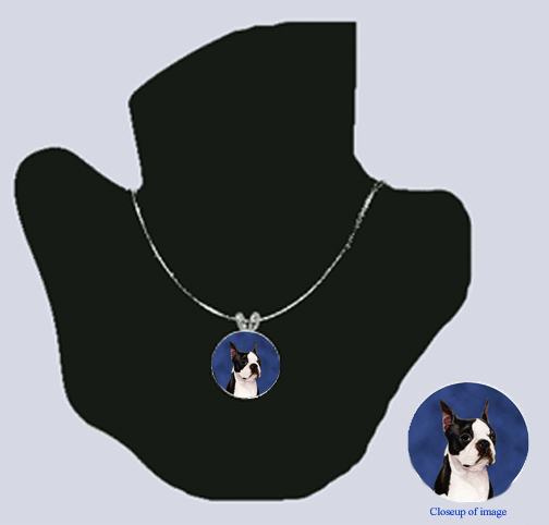 Boston Terrier Blue Silver Necklace