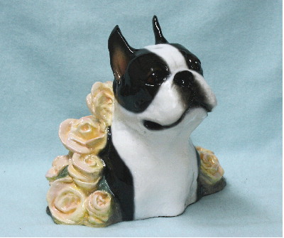 Boston Terrier Bust with Roses