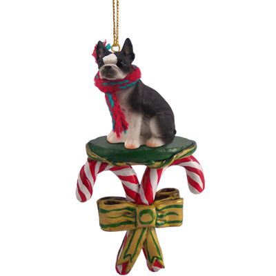 Boston Terrier Candy Cane Ornament
