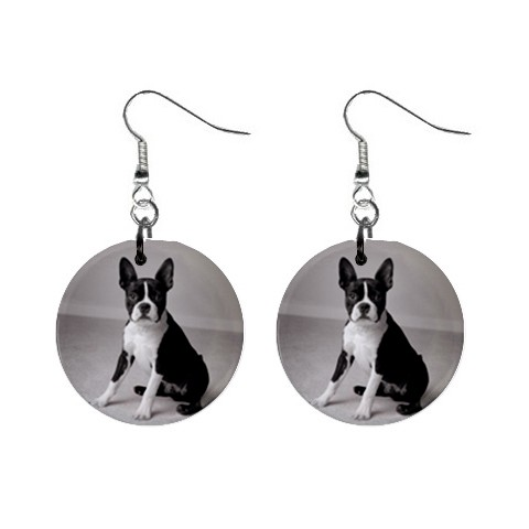 Boston Terrier Gray Earrings