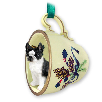 Boston Terrier Green Holiday Tea Cup