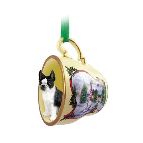 Boston Terrier Holiday House Teacup