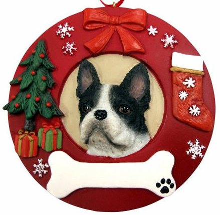 Boston Terrier Red Wreath Ornament