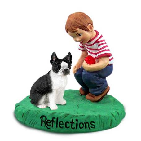 Boston Terrier Reflections with Boy
