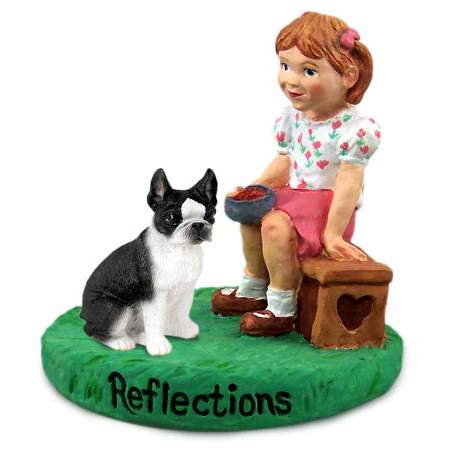 Boston Terrier Reflections with Girl