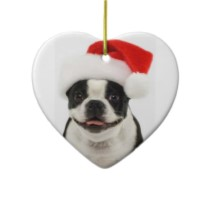 Boston Terrier Santa Heart Ornament