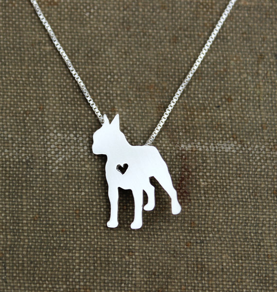 Boston Terrier with Heart Necklace