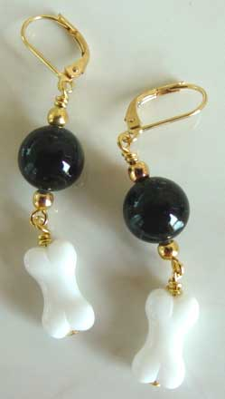 Dog Bone Lampwork Black Obsidian Gold Earrings