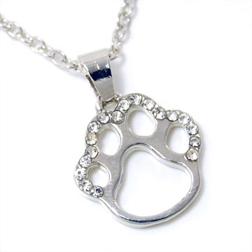 Dog Paw Silver Pendant Necklace