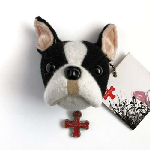 Fuzzy Nation Boston Terrier Dog Head Brooch