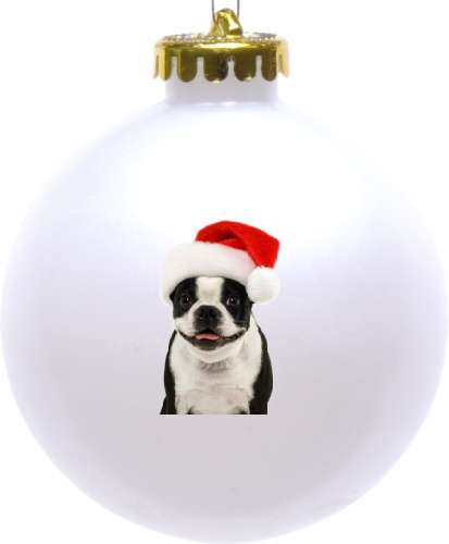 Jolly Boston Terrier Santa Ball Ornament