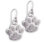 Silver Dog Paw Print Earrings