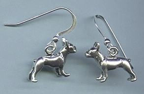 Sterling Silver Boston Terrier Earrings