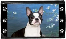 Boston Terrier Blue Water White Flowers Wallet