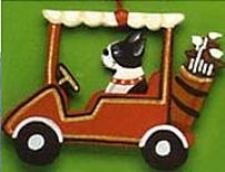 Boston Terrier Golf Cart Ornament