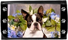 Boston Terrier In Flowers Wallet