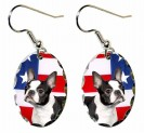 Boston Terrier Patriotic Dog Earrings