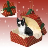 Boston Terrier RED Gift Box Ornament