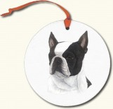 Boston Terrier Round White Ornament