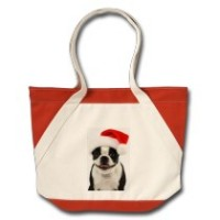 Boston Terrier Santa Tote Bag