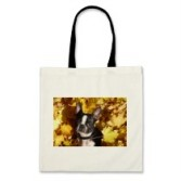 Boston Terrier in the Autumn Leaves Tote Bag