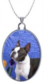 Boston Terrier on Blue withTulips Porcelain Sterling Silver Pendant