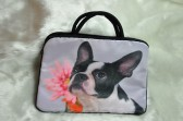 Boston Terrier with Pink Flower Laptop Bag View 2