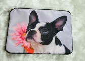 Boston Terrier with Pink Flower Laptop Bag