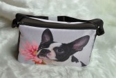 Boston Terrier with Pink Flower Sideview