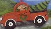 Dog in Pickup Truck with Christmas Tree Ornament