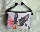 Large Boston Terrier with Pink Flower Handbag