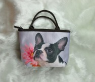 Small  Boston Terrier with Pink Flower Handbag