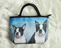 Small Boston Terriers at the Beach Handbag