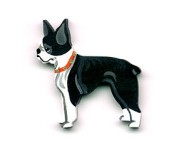 Wooden Boston Terrier Ornament
